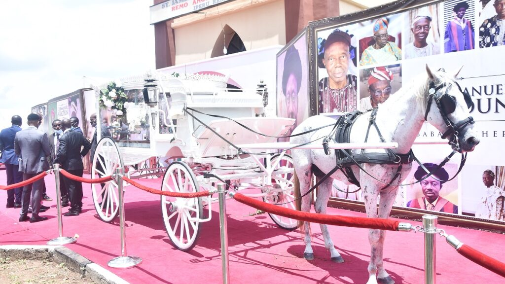 Check out the funeral coach that brought Governor Dapo Abiodun's body to church